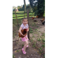 Millie with her chickens