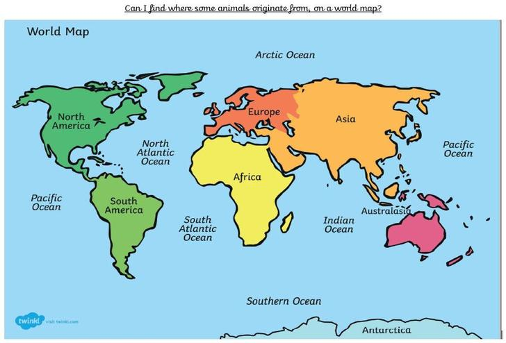 world map showing continents