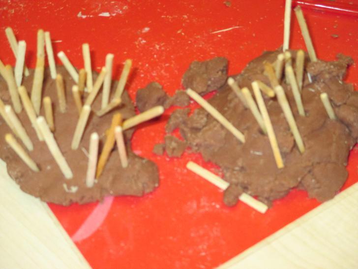 Our playdough hedgehogs!