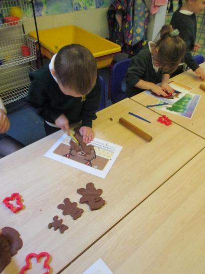 making the 3 bears out of chocolate playdough!