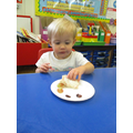 Jemima enjoying her snack.