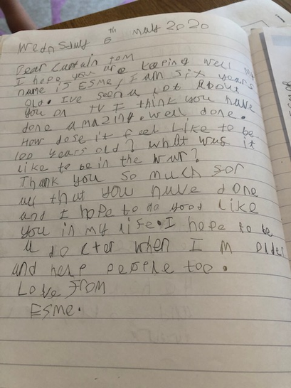 A letter to Captain Tom - lovely writing!