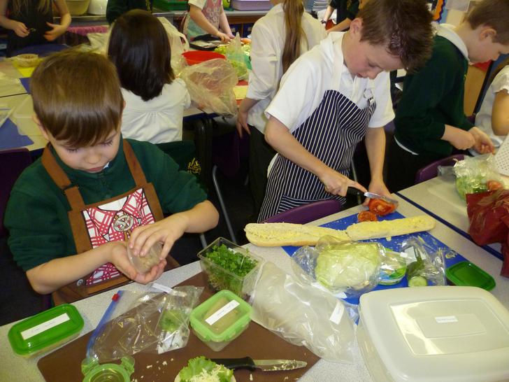 Creating our delicious sandwiches