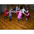 Dancing to tea party music