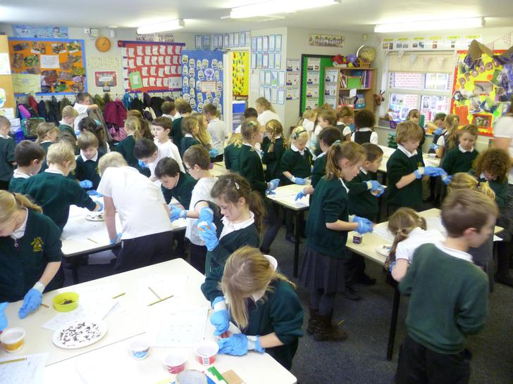 70 children busy concentrating
