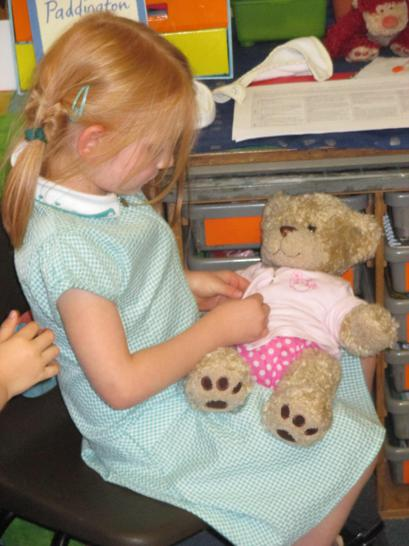 Looking after our class bear