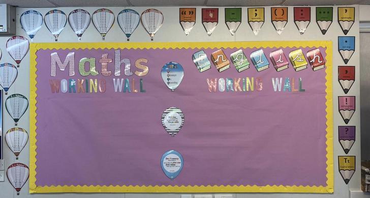 English and Maths working walls