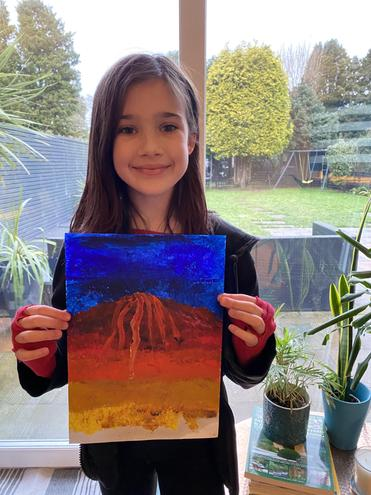 A fantastic volcano painting!