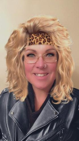 Mrs W as an 80s Rock Star! :)