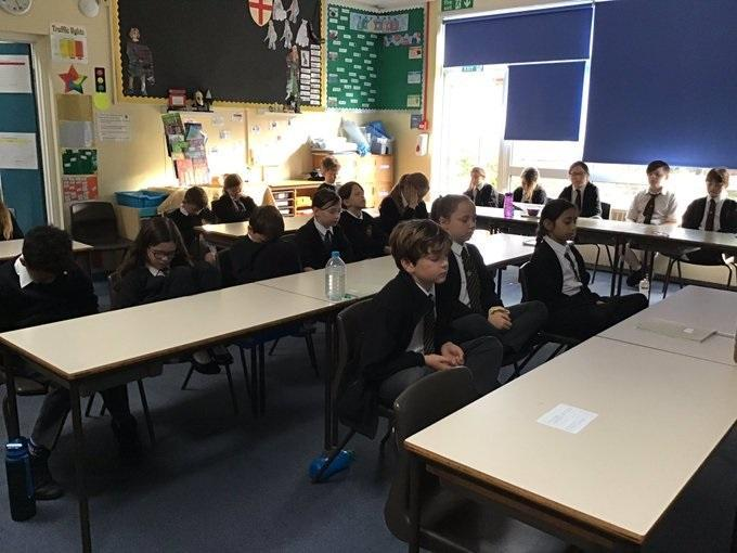 Year 5 exploring meditation as a way to relax as part of their RHE lessons today.