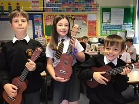This half term the children are learning to play the ukulele