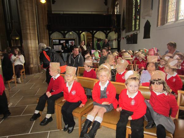 Harvest Festival in our scarecrow hats!