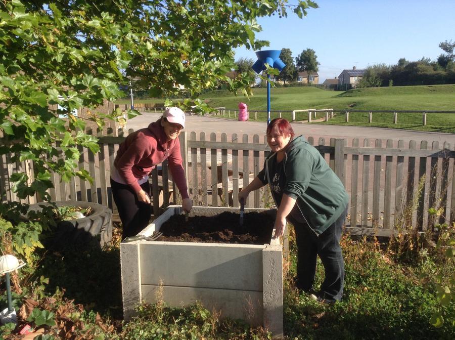 Preparing raised planters