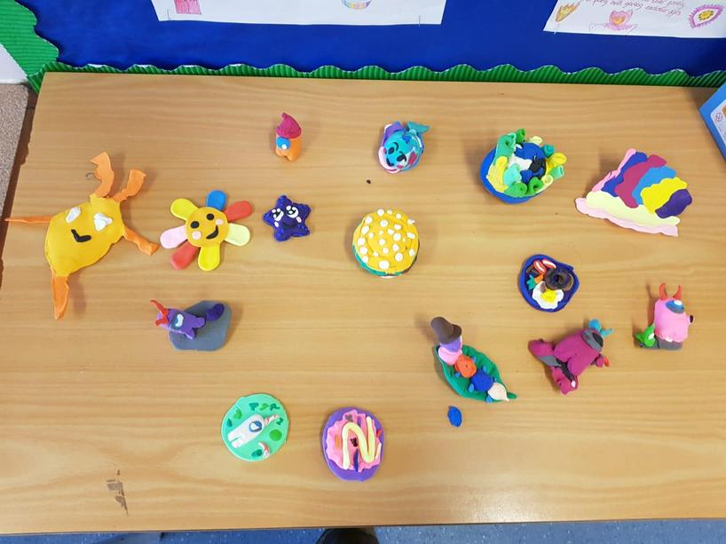 The children in school have been using clay to help them relax and get all creative.