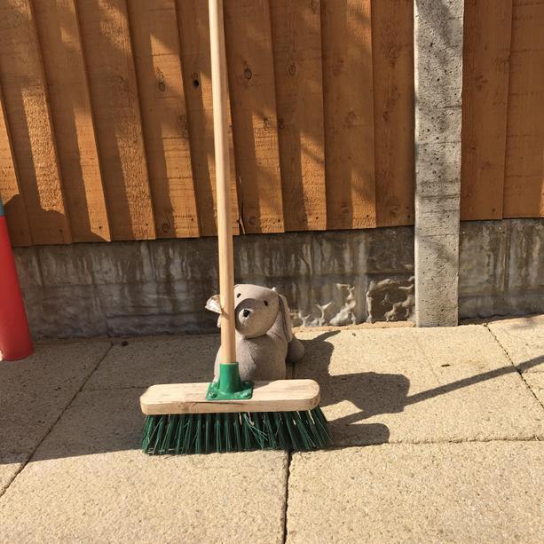 Teddy is BEHIND the broom.