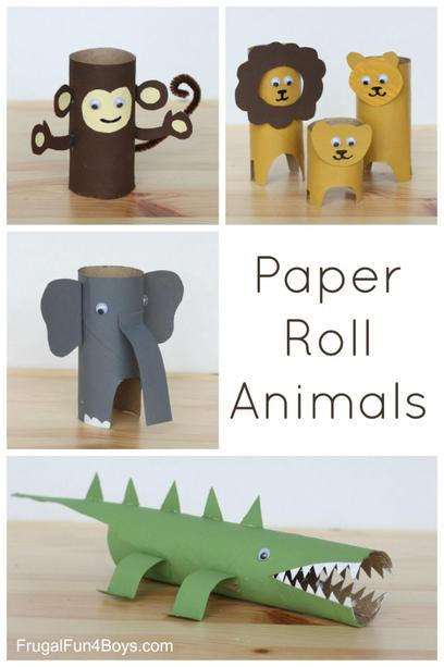 Use paper rolls to make some rainforest animals.