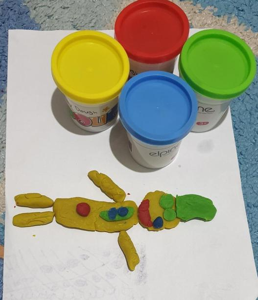 Yakeen (5L) has been using play dough to get creative and help him feel relaxed.