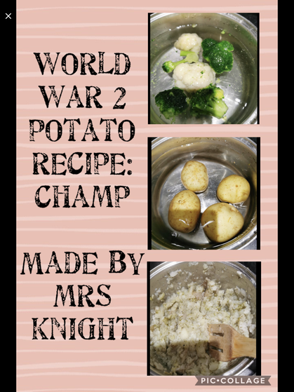 WW2 rationing - potato recipes (family activity)