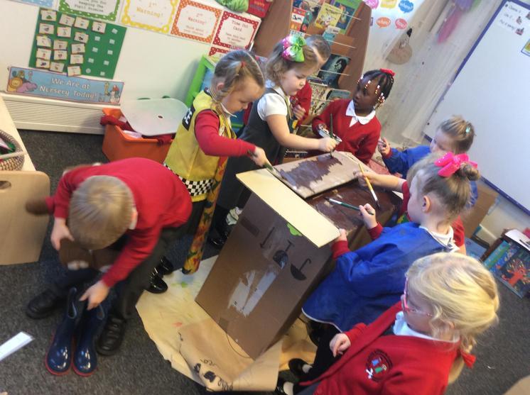 We set about painting it 'brick' colour