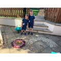 Harry and Max have made art using natural objects