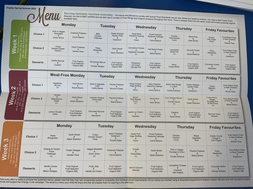 A sample of the menus for school dinners.