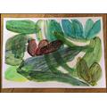Henri Rousseau inspired jungle painting