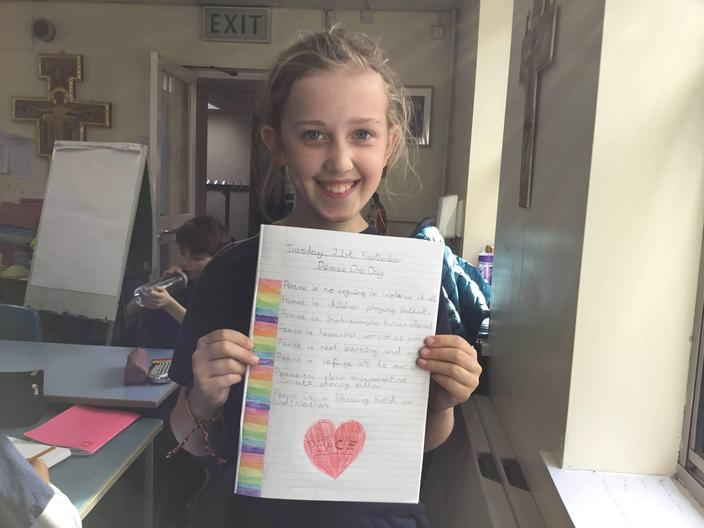 Congratulations to Aoife...our first winner of a Head Teacher Award for her fantastic poem for Peace One Day
