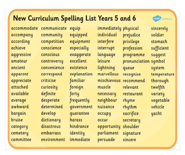 Choose a spelling each day to learn.