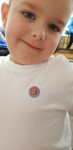 Isaac's sticker for his hard work at home!