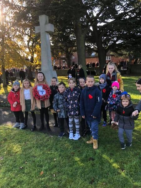 Representing school at village Remembrance Service