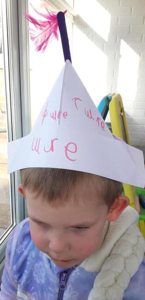 "Elijahs ""ure"" Pirate hat. Great work!"