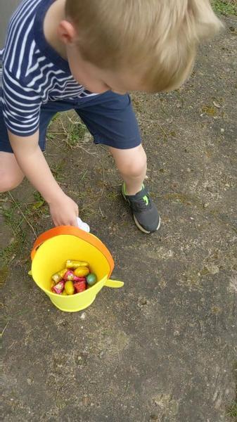 Sebastian on his Easter Egg Hunt!