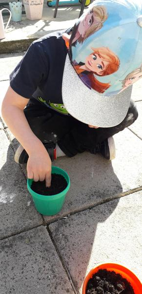 Elijah super science today planting seeds!