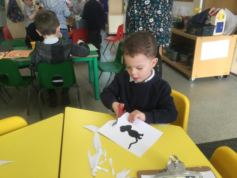 Making the Big Bad Mouse shadow puppets