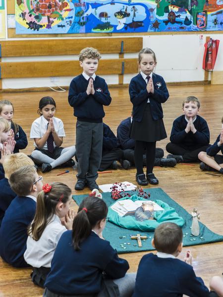 Children prepare and lead their classmates.
