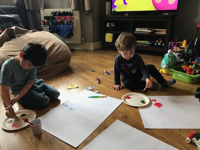Tommy and his brothers Painting session great!