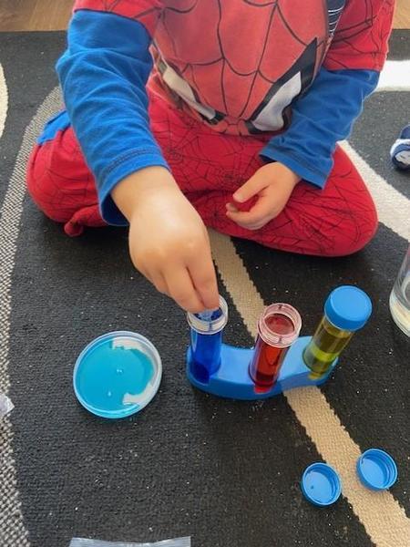 Super science Hayden learning lots!
