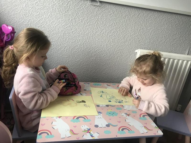 Oliwia working hard with her sister