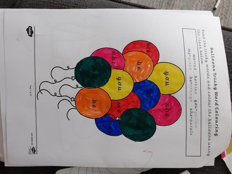 Elijahs beautiful colouring and phonics!