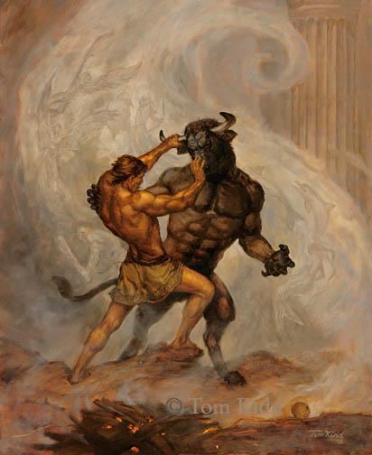 Thesesus and the Minotaur.
