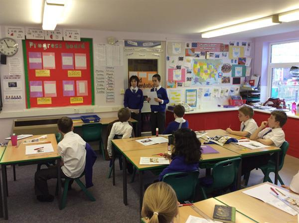 Digital Leaders discussing E-Safety with Year 5