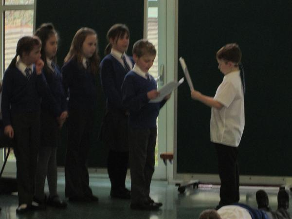 Acting out our Roman play.