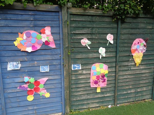 We made large seaside collages for our garden
