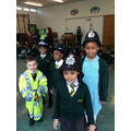 Trying on Police hats.