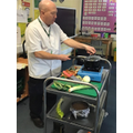 Chef Paul sharing his cooking skills with Year 1