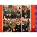 Reception children creating Crossstitch
