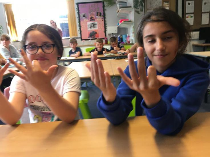 Skiddaw class have been learning their 9x table and learnt a new trick!