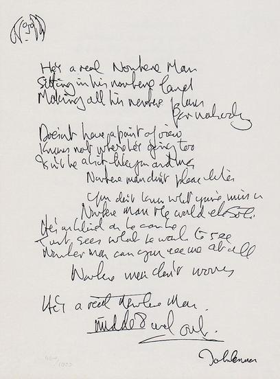 John Lennon's handwritten lyrics to Nowhere Man