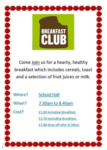 From Monday 7th June the prices for Breakfast Club will increase. Please see above.