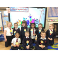 Reception made badges to show their favourite numbers